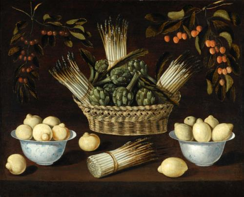 Still Life with Asparagus, Artichokes, Lemons and Cherries, Blas de Ledesma (active 1602 - 1614)